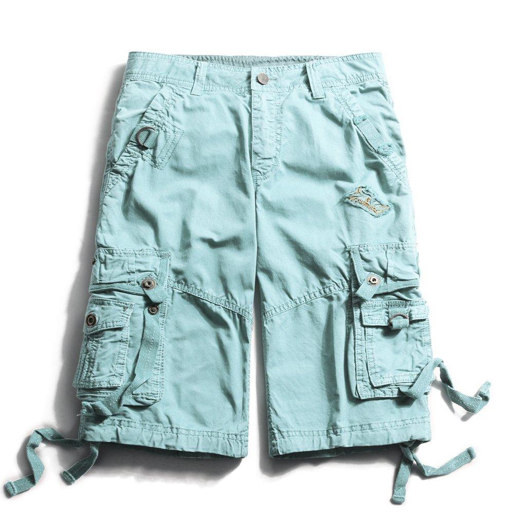 OCHENTA Men's Cotton Lesuire Multi Pockets Cargo Shorts