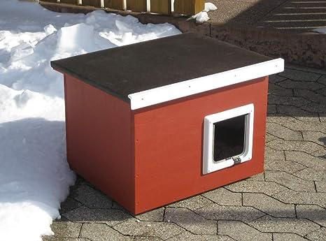 Caseta Impermeable para gatos, apta para uso en exterior, tejado plano, color rojo