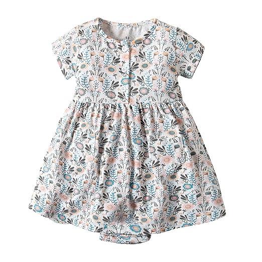 73eda55b8688 Baby Girl Floral Dress Toddler Kid Summer Short Sleeve Princess Romper  Dresses Clothes Set (3