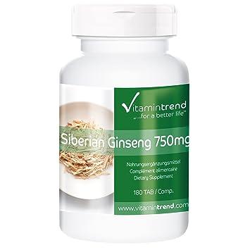 Ginseng Siberiano 750 mg – vegano y natural – 180 pastillas de Ginseng