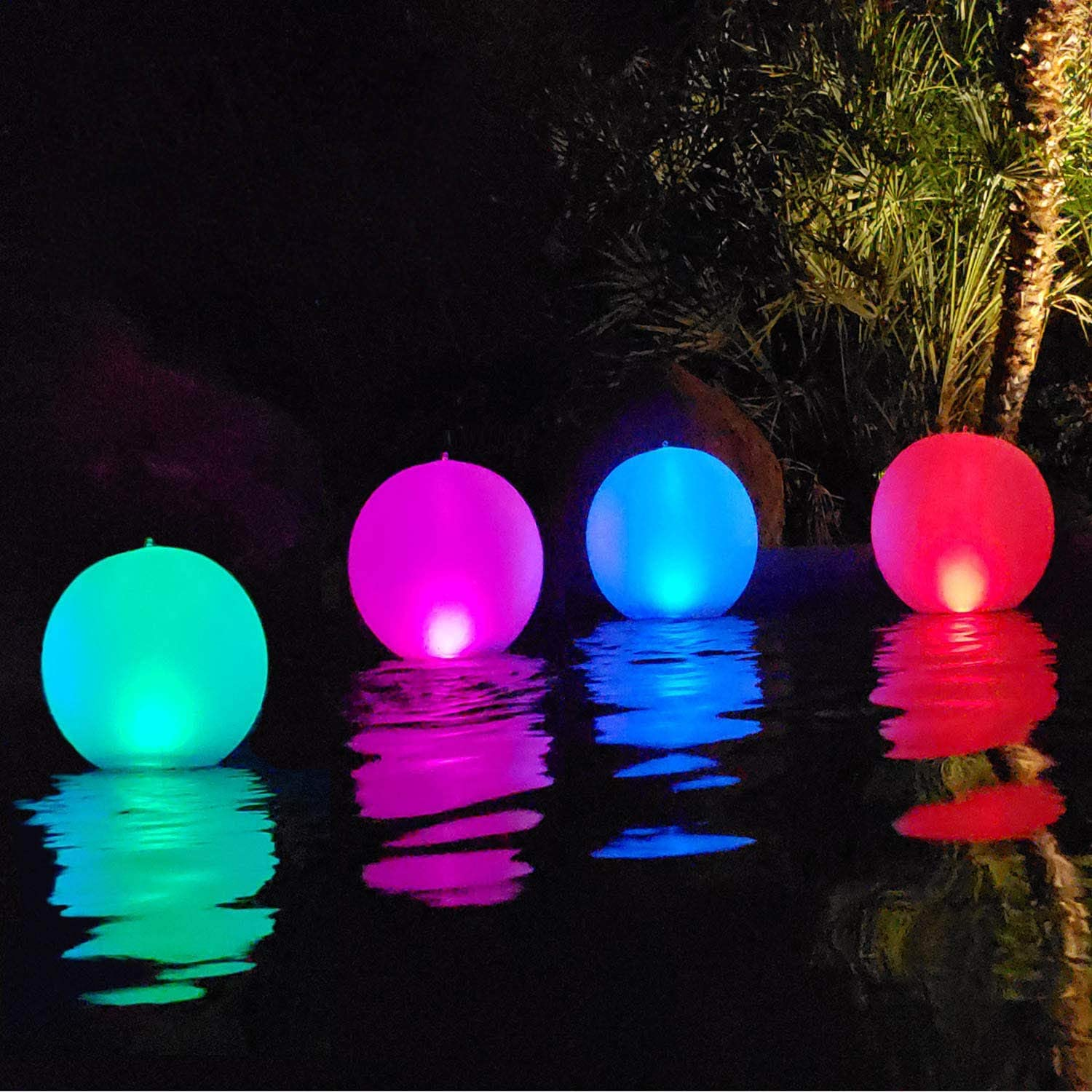 Solar Powered LED Inflatable Lights Pink Green Blue for Pool or Pond Set of 3