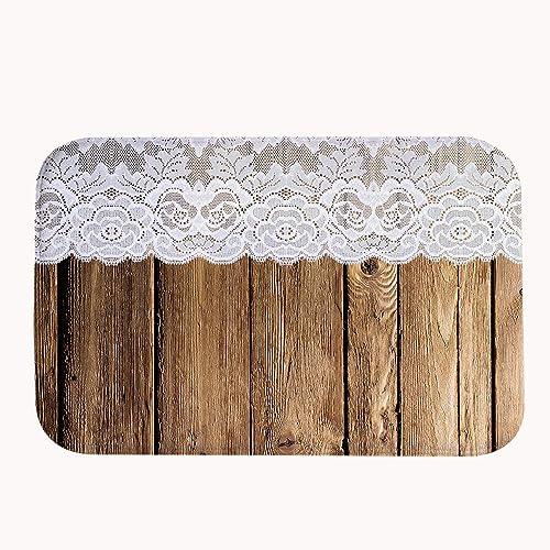 Vintage Rustic Old Barn Wood Door Mat Bathroom Decor Coral Fleece Rug Super Absorbent Bath Mat 16 x 24