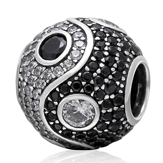 Soulbead Yin Yang Charm with Clear and Black Cubic Zirconia 925 Sterling Silver Bead for Snake Chain Bracelet K9uJH
