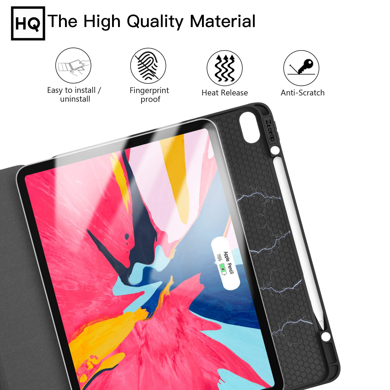 Ztotop Case for iPad Pro 12.9 Inch 2018, Full Body Protective Rugged Shockproof Case with iPad Pencil Holder, Auto Sleep/Wake, Support iPad Pencil Charging for iPad Pro 12.9 Inch 3rd Gen - Black by Ztotop (Image #8)