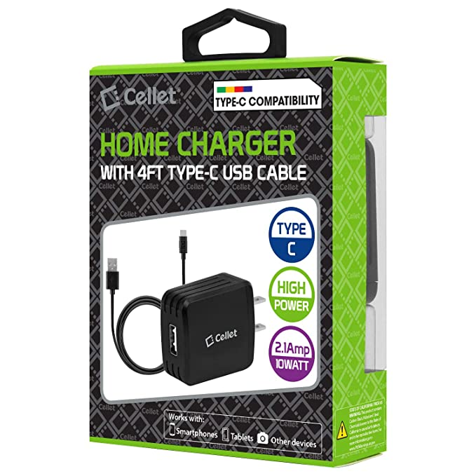 Amazon.com: Black High Power USB Home Charger, 2.1A/10W with Separate 4 Feet Cable for Compatible w/LG G8 ThinQ and Other Type-C USB Cell Phones: Cell ...