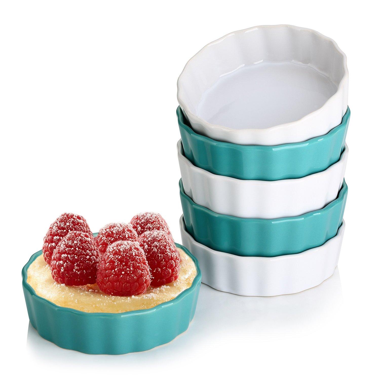 Lifver 5 oz Ceramic Ramekins, Perfect Portion Control Size For Making Creme Brulees, Classy Dip Bowls, Set of 6