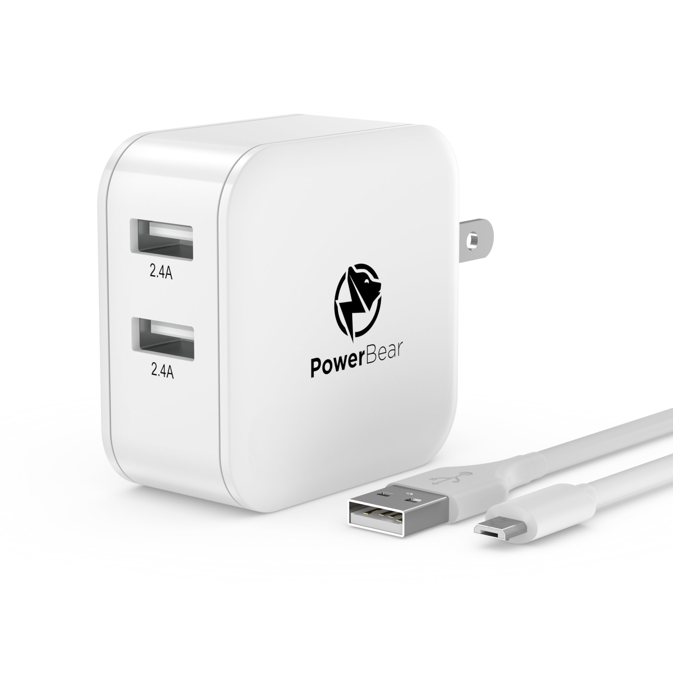 PowerBear USB Charger Dual USB Wall Charger [4.8A 24W] Foldable Plug, Travel Ready, with SmartID Technology for iPhone, Samsung Galaxy S7/S6 & More - White [24 Month Warranty]