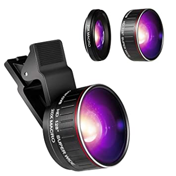 Crenova Phone Camera Lens Kit, 0 45x Wide Angle Lens, HD 128° Super Wide  Angle 20X Macro Lens, Clips-On Cell Phone Lens for