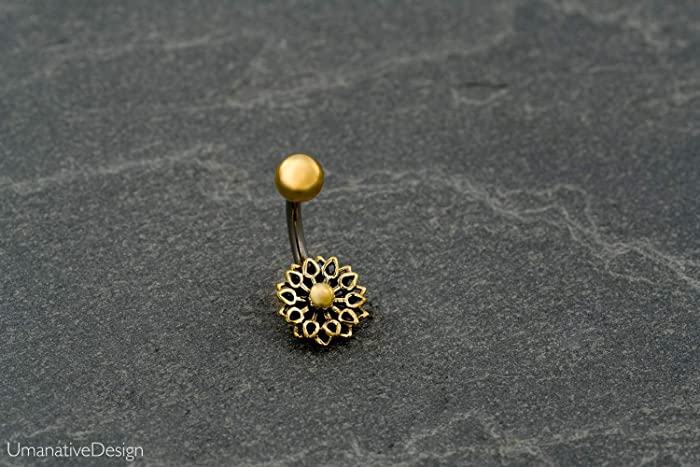 Flower Mandala Belly Button Ring Gold Brass Surgical Steel Tribal Indian Navel Piercing 14g Handmade Body Jewelry
