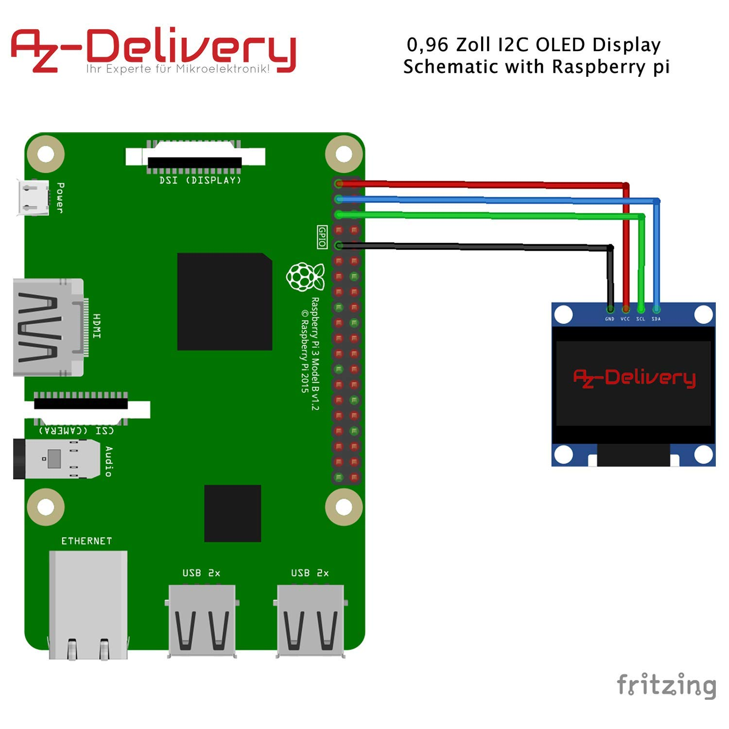 AZDelivery 3 x 0.96 Inch OLED Display 128 x 64 Pixels I2C Module for Arduino and Raspberry Pi