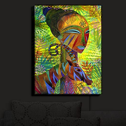 Illuminated Wall Art by DiaNoche Designs. Art During the Day, flip a switch, and its a LIGHT Sconce, Handmade, Artistic, Lamp, Nursery Lighting, Wall Light lightJenniferBairdAfricanQueens4