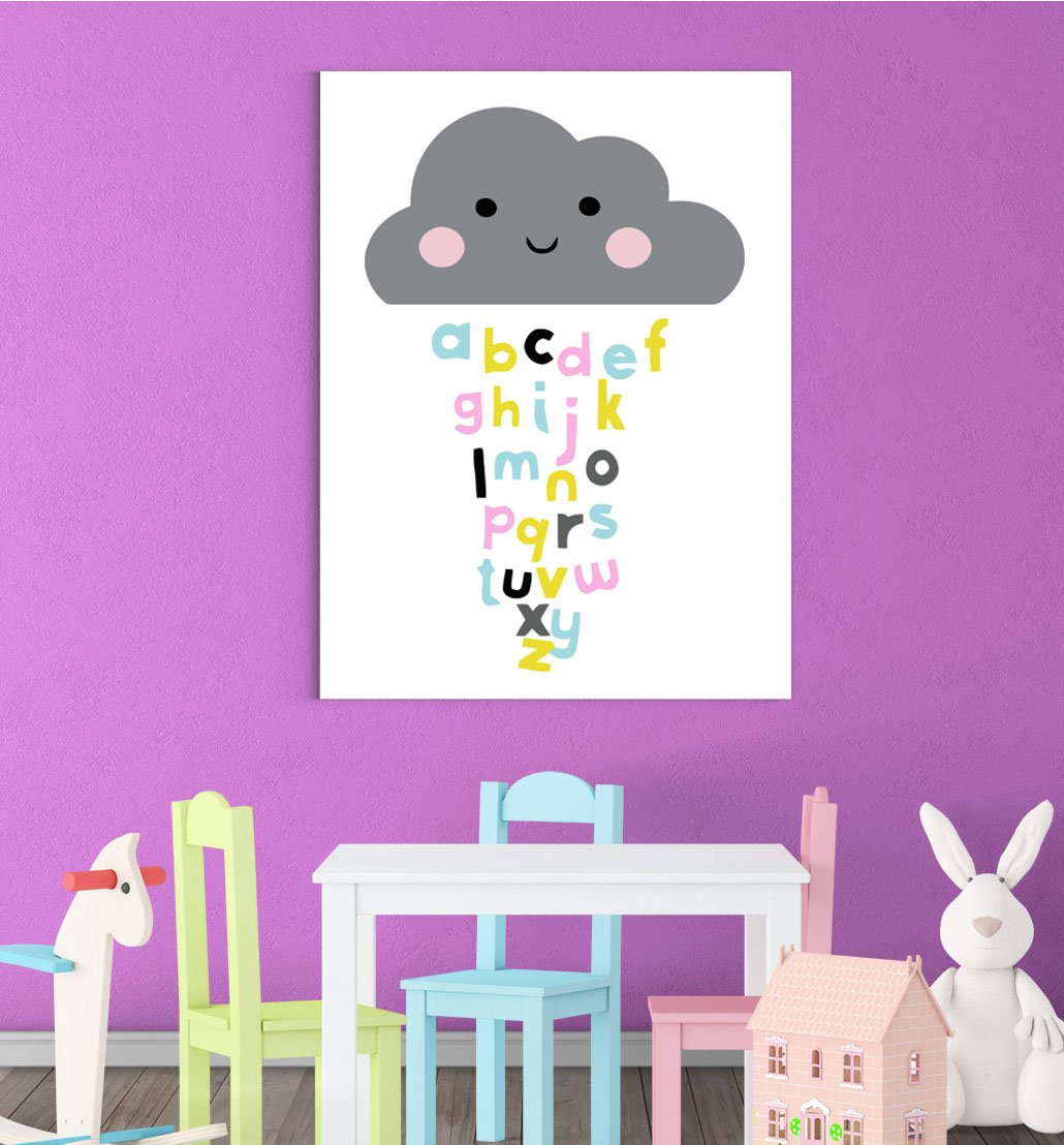 Inspired Walls Blushing Cloud Lettres de lalphabet Apprentissage Chambre denfant Gar/çons Filles D/écor Mural Art Poster Print