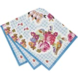 Talking Tables Truly Scrumptious Floral Amuse Bouche Canape Napkins for a Tea Party or Birthday, Multicolor (40 Pack)