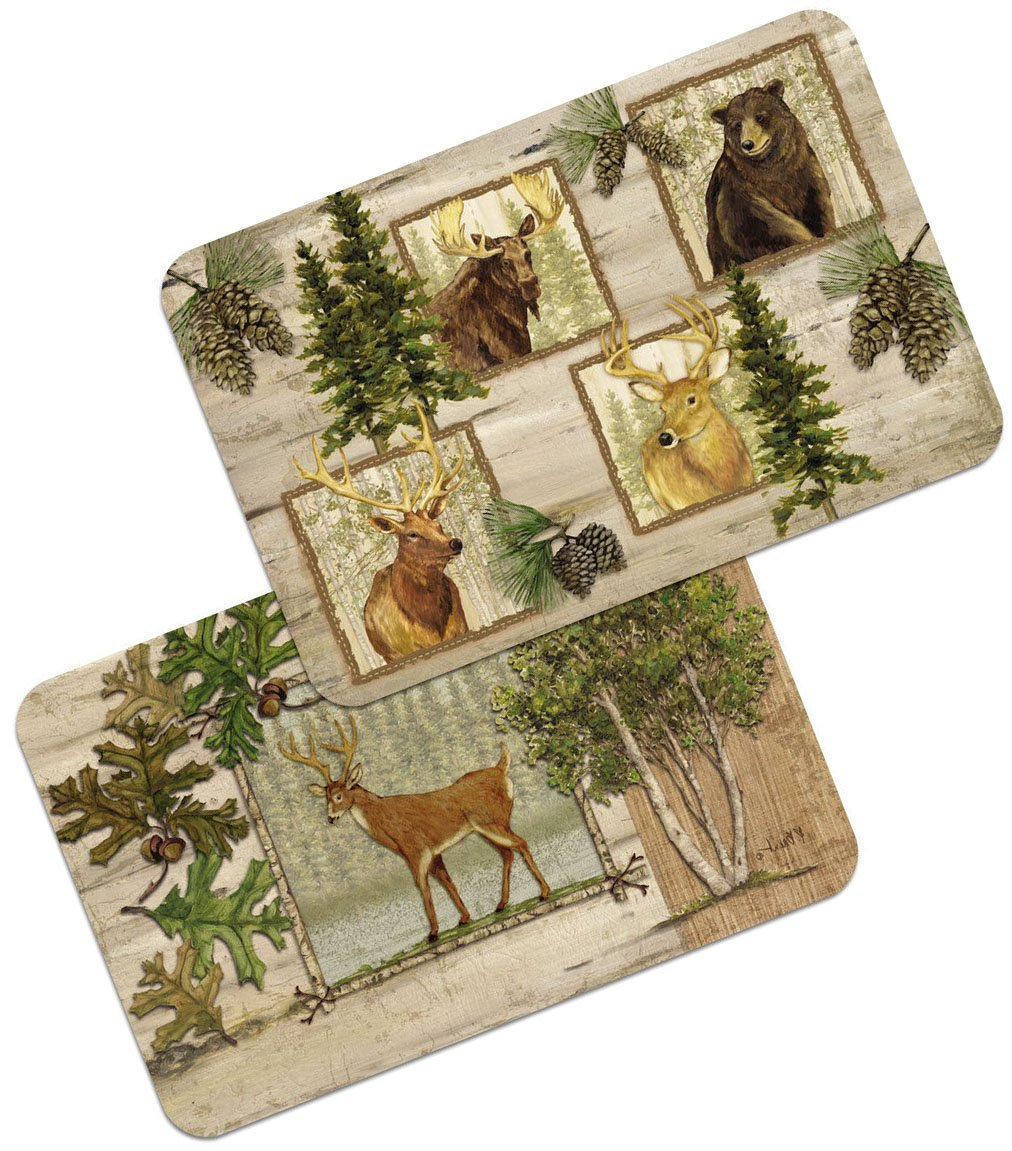 "Unique & Custom {11'' x 17'' Inch} Set Pack of 4 Rectangle ""Non-Slip Grip Texture"" Large Reversible Table Placemats Made of PVC Plastic w/ Forest Animals Deer Tree Design [Colorful Tan, Green & Brown]"