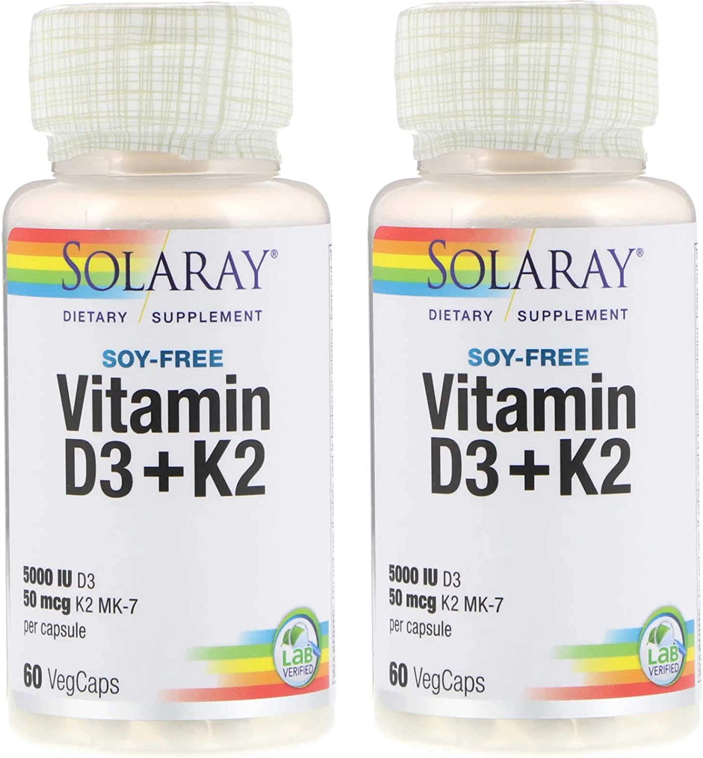SolaRay Soy Free Vitamin D3 + K2 Lab Verified Dietary Supplement with 5000 IU D3 and 50 Micrograms K2 MK-7 Per Capsule (60 VegCaps) Pack of 2