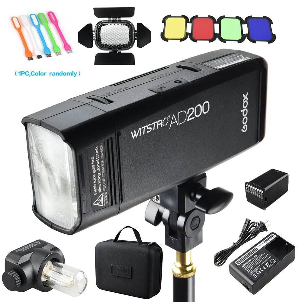 Godox AD200 200Ws 2.4G TTL Speedlite Flash Strobe 1/8000 HSS Monolight, 2900mAh Lithium Battery with BD-07 Barn Door & Honeycomb Grid and 4 Color Gel Filters by Godox (Image #1)