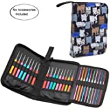 Teamoy Crochet Hook Case, Travel Carry Bag for Ergonomic Crochet Hooks Kits, Aluminum Crochet Hooks, Steel Crochet Hook and More, Lightweight, Well Made-NO Accessories Included, Cats Blue