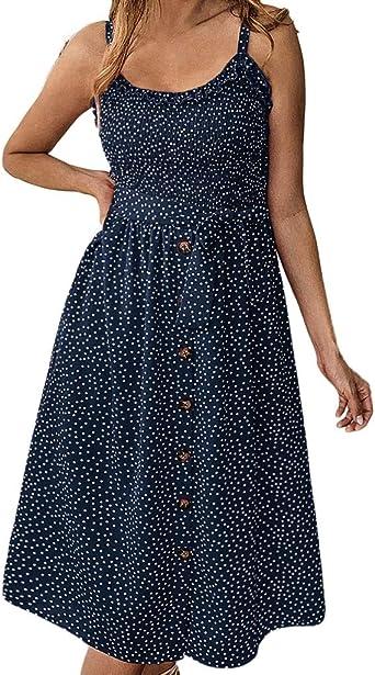 Culater Vestido Vestido De Botón De Lunares con Volantes Y Estampado Casual De Moda De Primavera Y Verano: Amazon.es: Ropa y accesorios