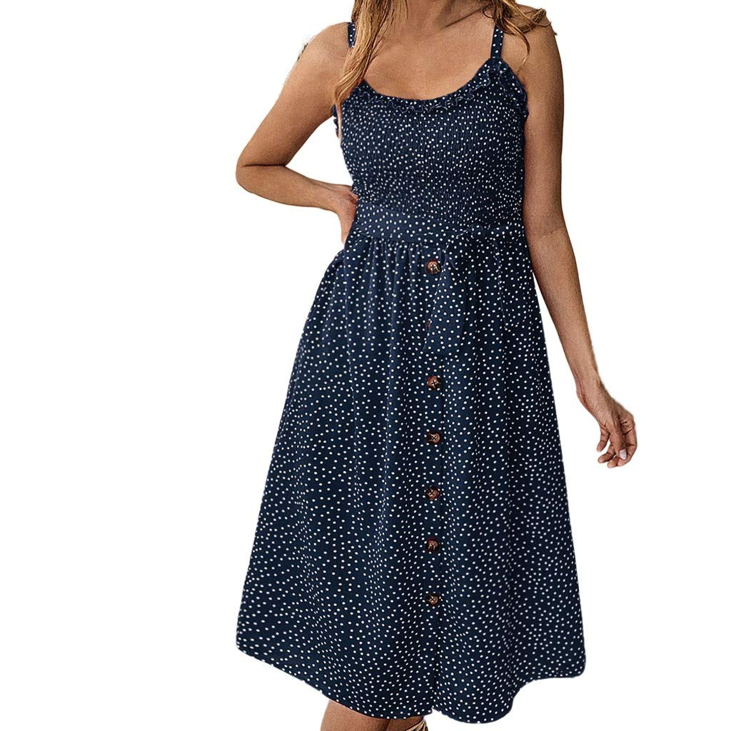 【MOHOLL】 Women's Dresses - Summer Boho Floral Spaghetti Strap Button Down Belt Swing A line Midi Dress with Pockets Blue