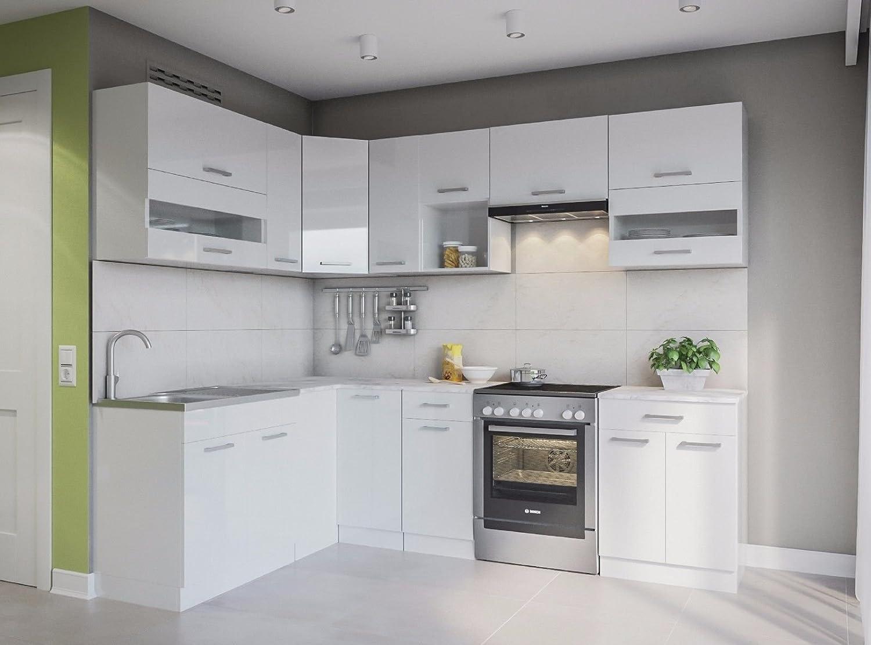 Eldorado de ángulo de Muebles Cocina Alina 250 x 170 Blanco Lacado L Forma de Cocina línea Esquina Cocina Block: Amazon.es: Juguetes y juegos