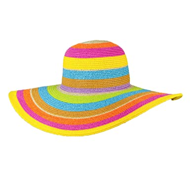 8205c4bb Image Unavailable. Image not available for. Color: MAGID Women's colorful  Stripes Wide Brim Floppy Straw Sun Hat ...