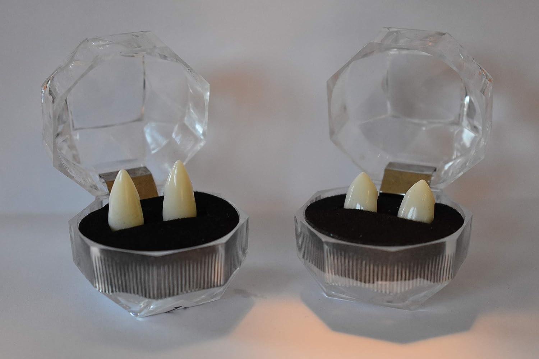 perfetto per Halloween. 2 paia di denti da vampiro da applicare e modellare bianco naturale Denti da vampiro Sexy Deluxe Vampir Fangs