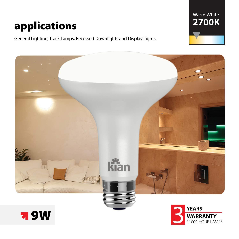 24 09 Watt KIAN LED Bulb BR30 Dimmable 650 Lumens Warm White 2700K Pack Energy Saving 65W Equivalent