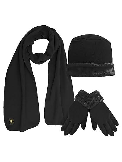 3d980a2475 Fleece Hat Scarf & Glove Set With Plush Fur Trim