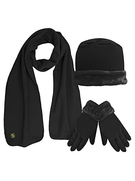 78622e799db Black Plush Fur Trim Fleece 3 Piece Hat Scarf   Glove Set at Amazon ...