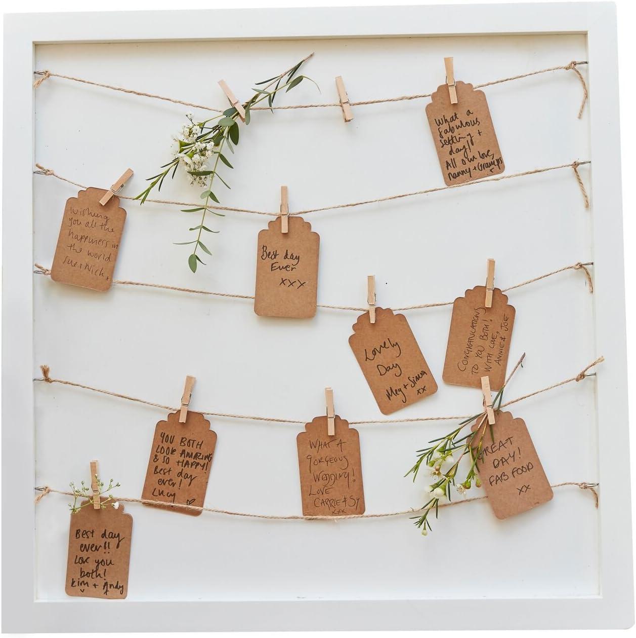 compleanno alternativo Libro degli ospiti battesimo comunione con cornice in legno e cordoncino per foto Libro degli ospiti per matrimoni 70 cartoncini e 70 mollette in legno cresima