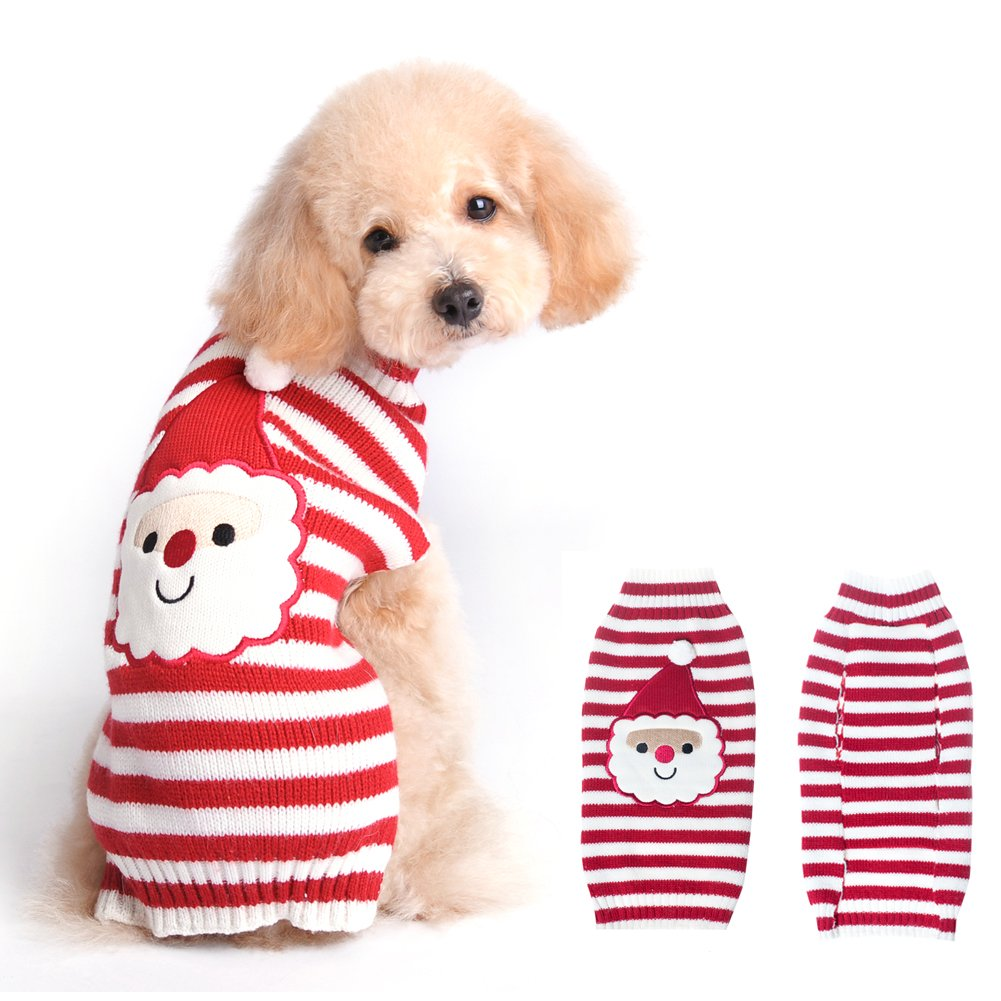 BOBIBI Dog Sweaters for Christmas Santa Pet Cat Winter Knitwear Warm Clothes Small