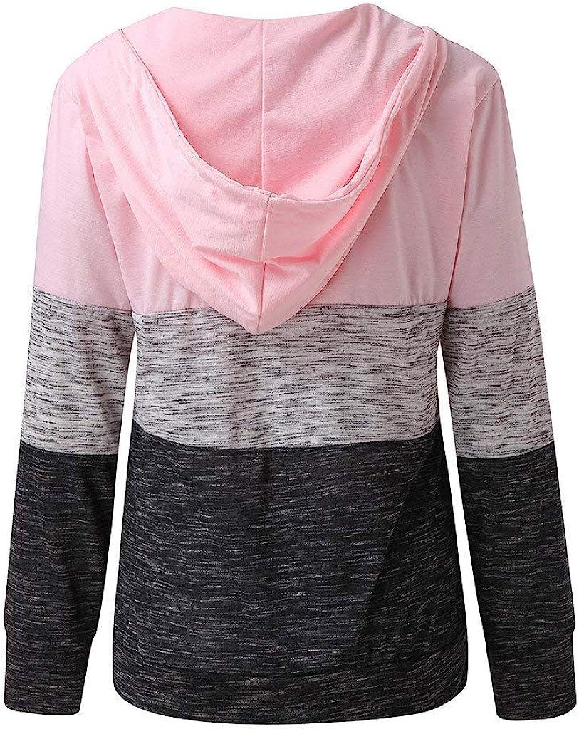 Miuye yuren Womans Fashion Hoodies Solid Sweatshirt Drawstring Hooded Pullovers Loose Color Patchwork Tops