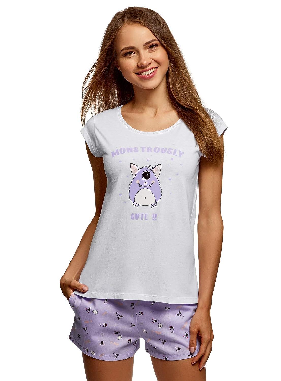 oodji Ultra Femme Pyjama en Coton avec Imprim/é