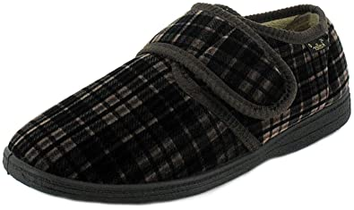 7a53bb5ecf5 Dr Keller New Mens Gents Brown Checked Velour Hook   Loop Strap Full  Slippers Shoe...  Amazon.co.uk  Shoes   Bags