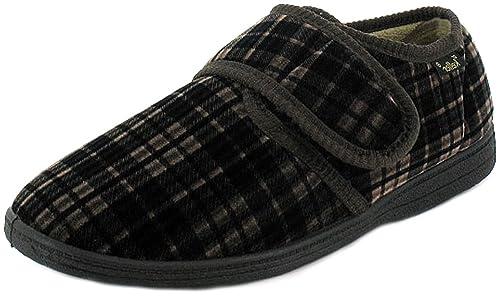 New para hombre/Hombre Marrón cuadros terciopelo correa de Velcro Full Zapatillas/zapatos –