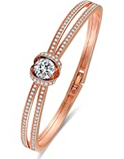 ❤Cinderella❤ Classic Silver Bracelet Bangles for Women Rose Gold Bracelets with Swarovski Crystals, Wedding Bracelet Birthday Gifts for Women Wife Girls -Jewelry Box Included
