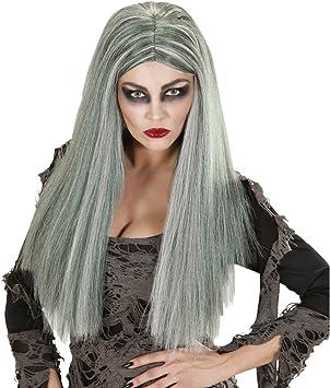 NET TOYS Peluca Larga Zombie Mujer Postizo Largo hechicera Gris ...