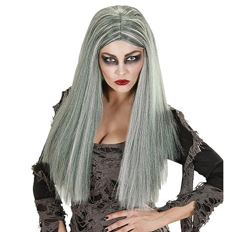 Net Toys Perruque Longs Femme Zombie Longue Coiffure Sorciere Gris