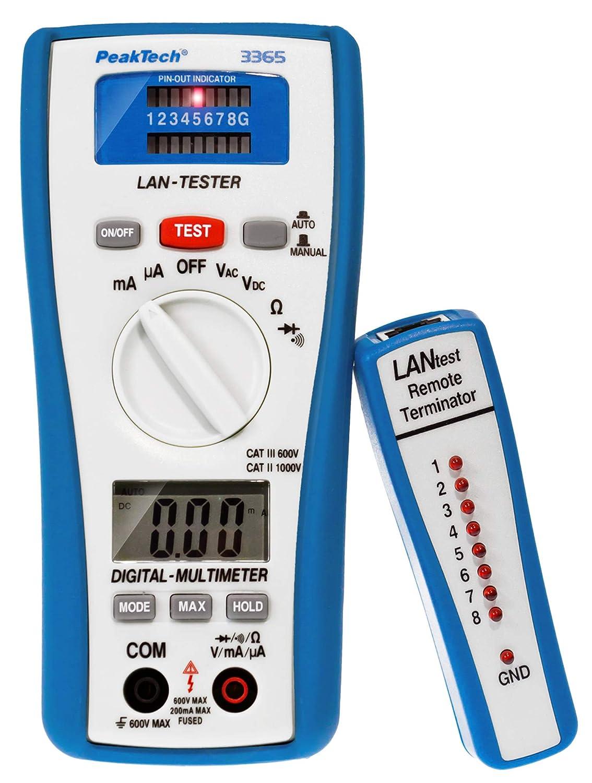 Peaktech 3365 Lan Tester Digital Multimeter Network Tester Voltage Tester Hand Multimeter Cable Tester Measurement Voltmeter Continuity Tester Meter Grounding Cable 600v P 3365 Business Industry Science
