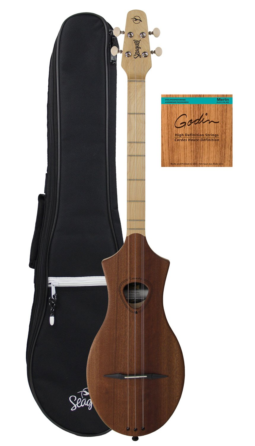 Seagull Merlin SG Dulcimer Guitar Bundle with Seagull Gig Bag and Strings - Natural Mahogany
