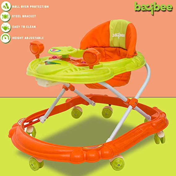 Baybee Winnie Baby Walker Round Kids Walker for Babies Cycle with Adjustable Height and Musical Toy Bar Rattles and Toys Ultra Soft Seat-Activity Walker for Kid and Wheel 6 Months to 2 (Orange/Green)