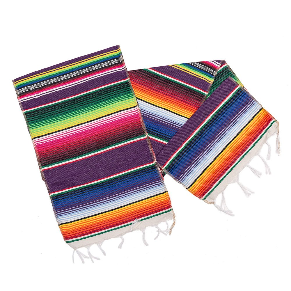 M MISS FANTASY Mexican Serape Table Runner Cinco De Mayo Decorations Blanket Fiesta Table Runner