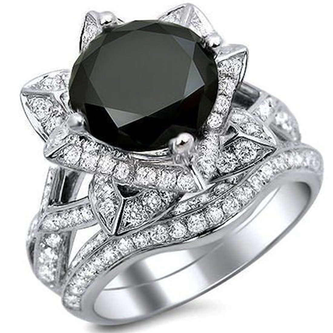 Smjewels 3.60 Ct Black Round Sim.Diamond Lotus Flower Engagement Ring Set In 14K White Gold Fn
