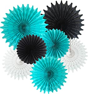 Bridal Shower Decorations Robin's Egg Blue White Black Tissue Paper Fan Decorations Robin's Turquoise Birthday Party Decorations/Moustache Birthday Little Man TIK Tok Birthday Party Decorations