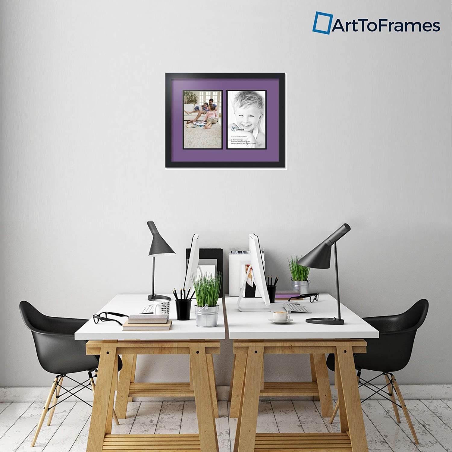 Art to Frames Double-Multimat-576-849//89-FRBW26079 Collage Photo Frame Double Mat with 2-8x12 Openings and Satin Black Frame