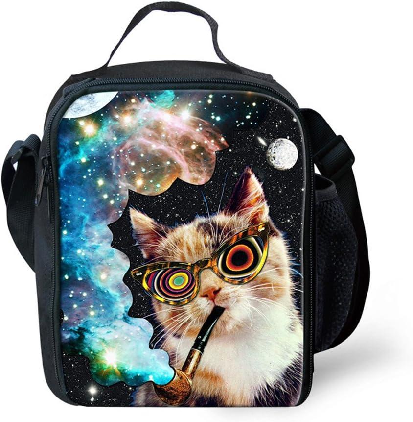hugsidea Cute Animal 3d Cat bolsas de almuerzo para Picnic Térmico Alimentos Fiambrera
