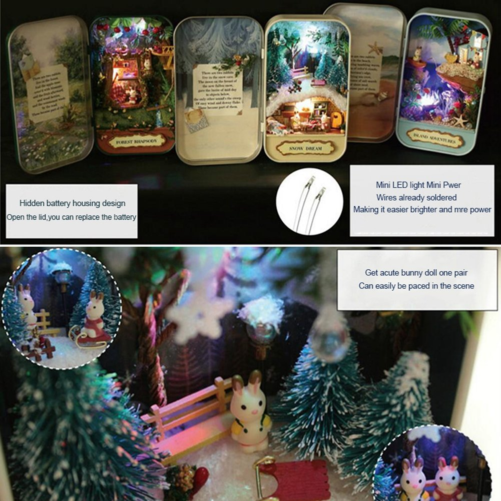 Island Adventures Box Theater Dollhouse Mini Cabin Handicraft DIY Assemble Box House Kits Art Gifts Creative Room With String Light Tweezer Ruler For Kids Friends Birthday Valentines Day
