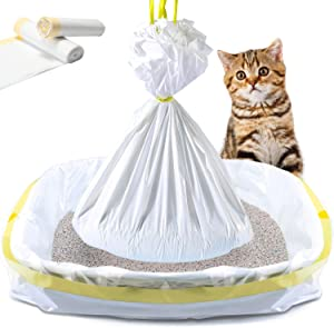 KONE Cat Litter Box Liners,20 COUNT Drawstring Kitty Litter Pan Bags Giant Cat Litter Bags Extra Durable Pet Cat Supplies, 45 inch-18 inch