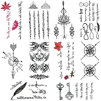 e60344165 Amazon.com : 10 Sheets cute temporary tattoos by Yesallwas, Waterproof long  lasting Fake Tattoos Stickers for for kids girls teens body tattoos (229) :  ...