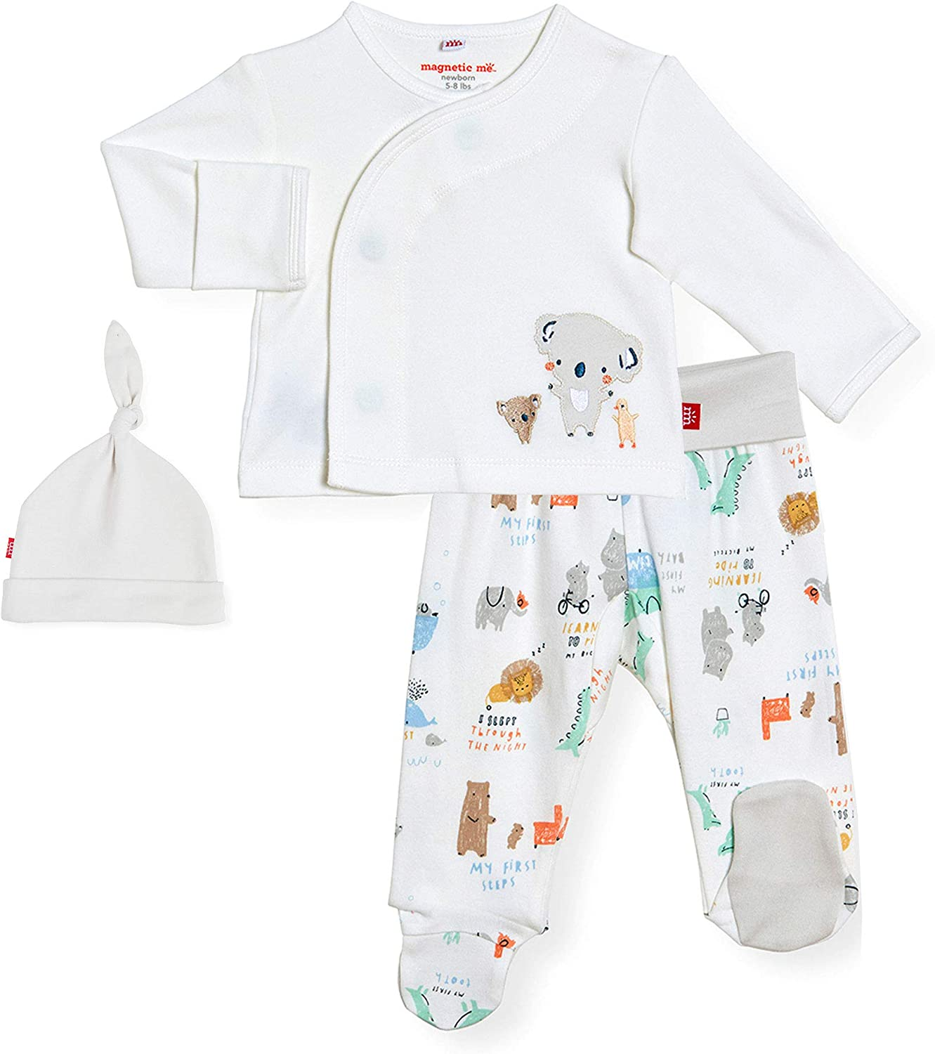 Magnetic Me by Magnificent Baby 100% Organic Cotton Magnetic Kimono Set 3-Piece Shirt, Pant, Hat Set